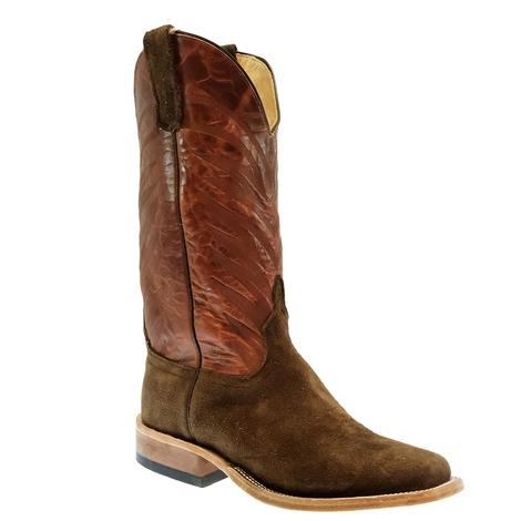 Anderson Bean Chocolate Slanted Buffalo with Orange Picasso Top Men's Boots