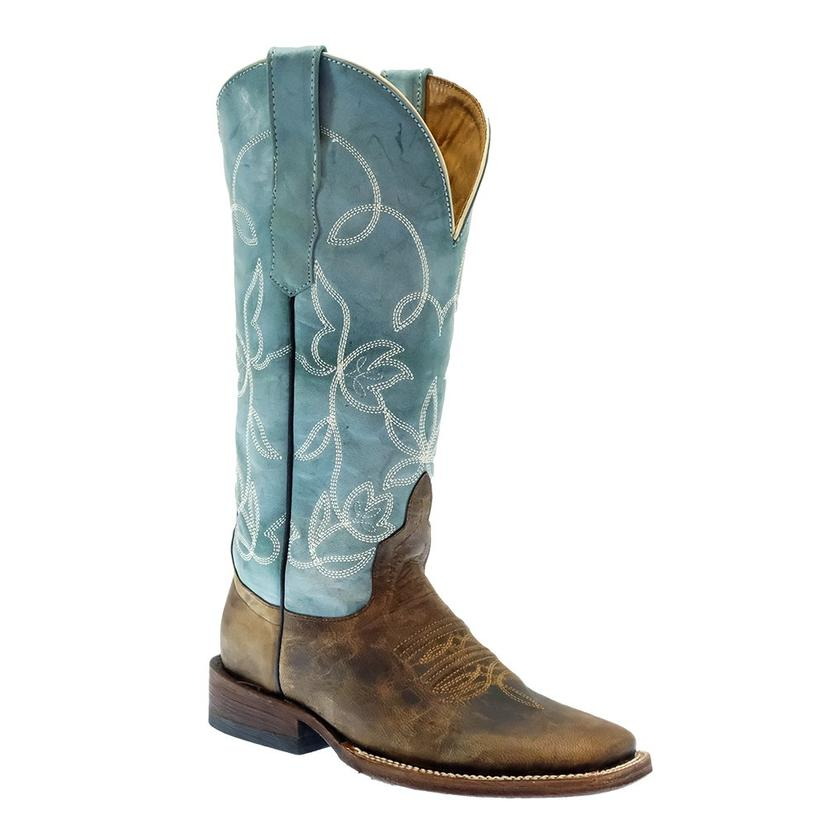 South Texas Tack Brown With Turquoise Top Women's Boots