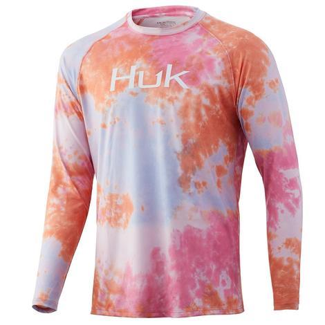 HUK Tie Dye Coral Fushion Pursuit Men's Long Sleeve Shirt