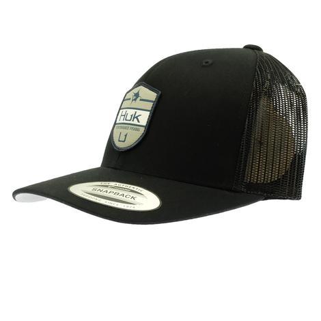 HUK Black Meshback Shield Trucker Cap