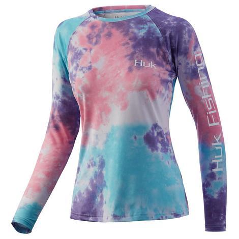 HUK Pursuit Tie Dye Lavender Blue Women's Long Sleeve Fishing Shirt
