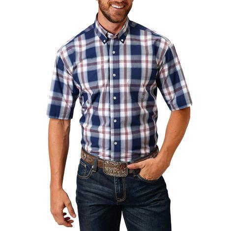 Roper Blue White Plaid Short Sleeve Buttondown Men's Shirt