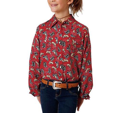Roper Red Western Print Long Sleeve Snap Girl's Shirt