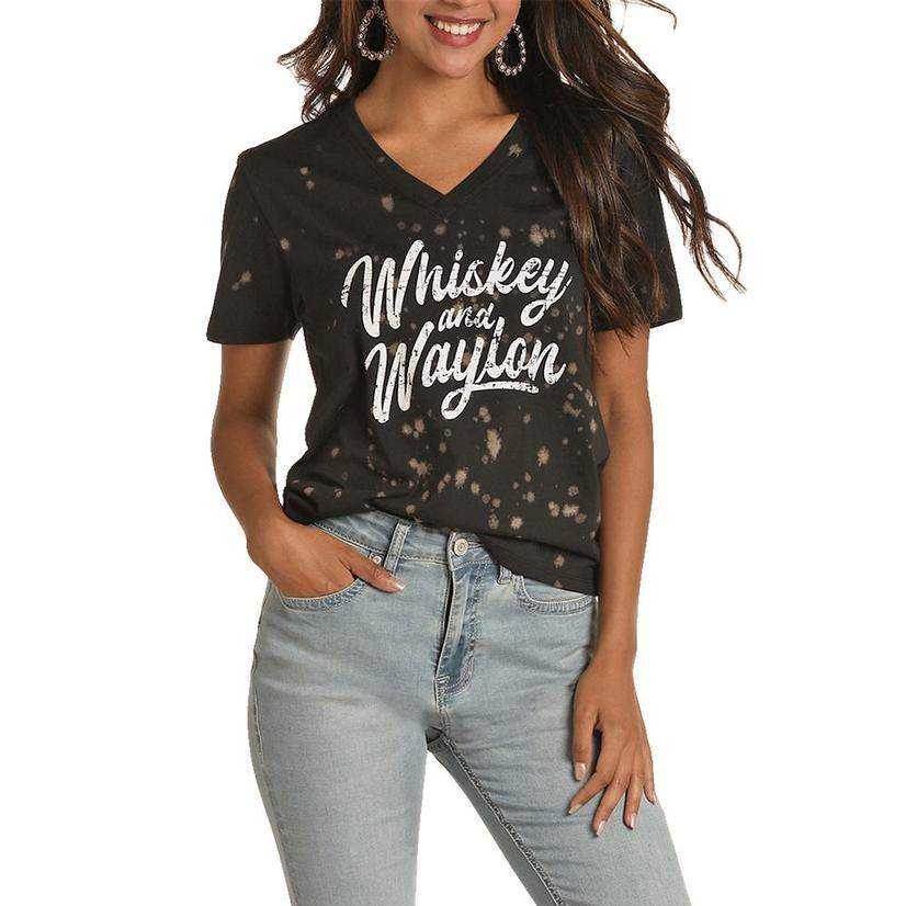 Rock And Roll Cowgirl Whiskey And Waylon Graphic Tee