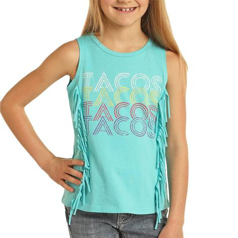Rock and Roll Cowgirl Turquoise Tacos Fringe Girl's Tank