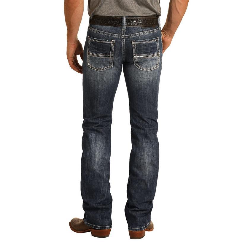 Rock And Roll Cowboy Pistol Straight Leg Dark Vintage Men's Jeans