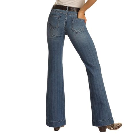 Rock and Roll Cowgirl Textured Faded Striped Trouser Jeans