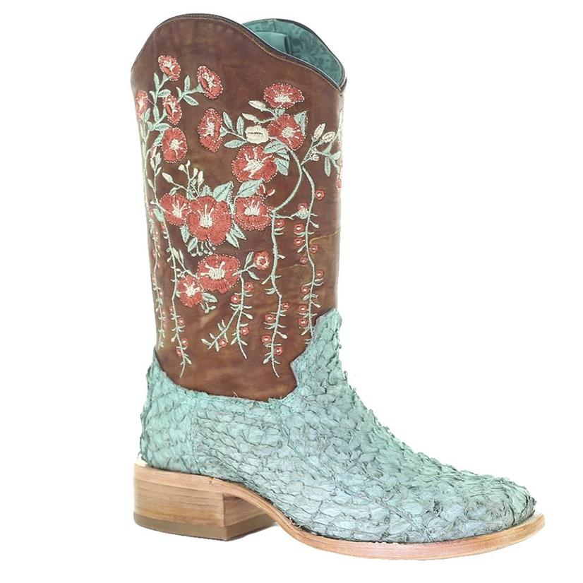 Corral Turquoise Tan Fish Floral Embroidered Women's Boots