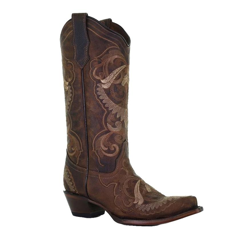 Corral Nut Embroidered Snip Toe Women's Boots