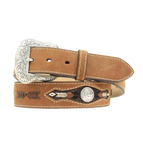 Nocona Brown Leather Buffalo Nickel Brown Lace Leather Men's Belt
