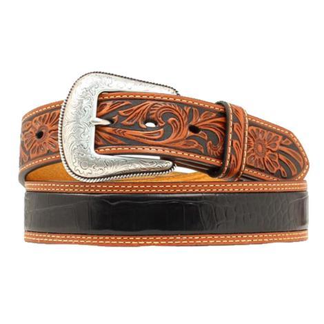 Nocona Black Gator Body Brown Leather Tooled Men's Belt