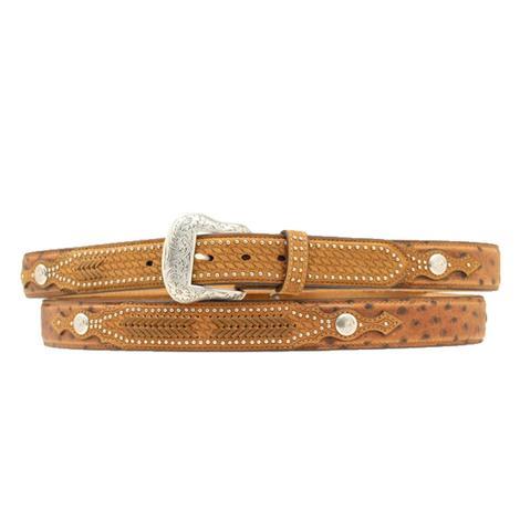 Nocona Brown Leather Ostrich Print Overlay Men's Belt