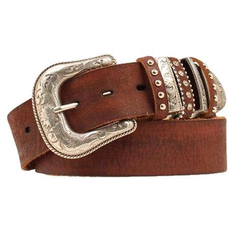 Nocona Brown Leather Layered Keeper Women's Belt