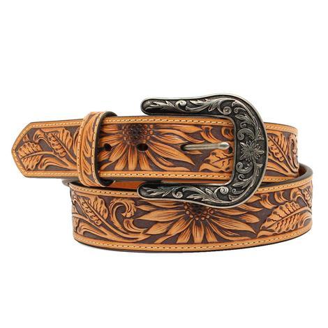 Nocona Sunflower Tooled Leather Women's Belt
