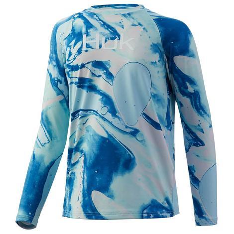 HUK Tie Dye Seafoam Lava Long Sleeve Youth Shirt