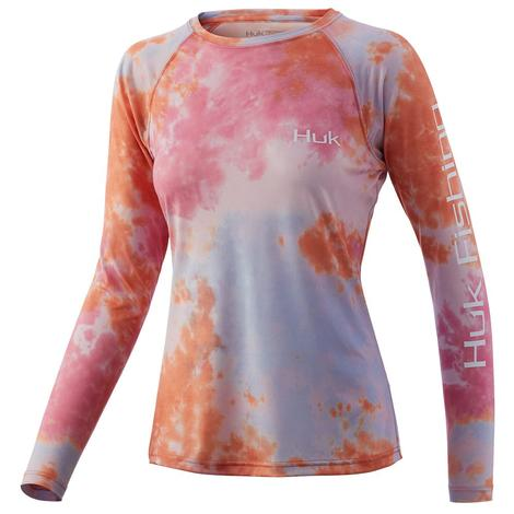 HUK Pursuit Fushion Coral Tie Dye Long Sleeve Women's Shirt