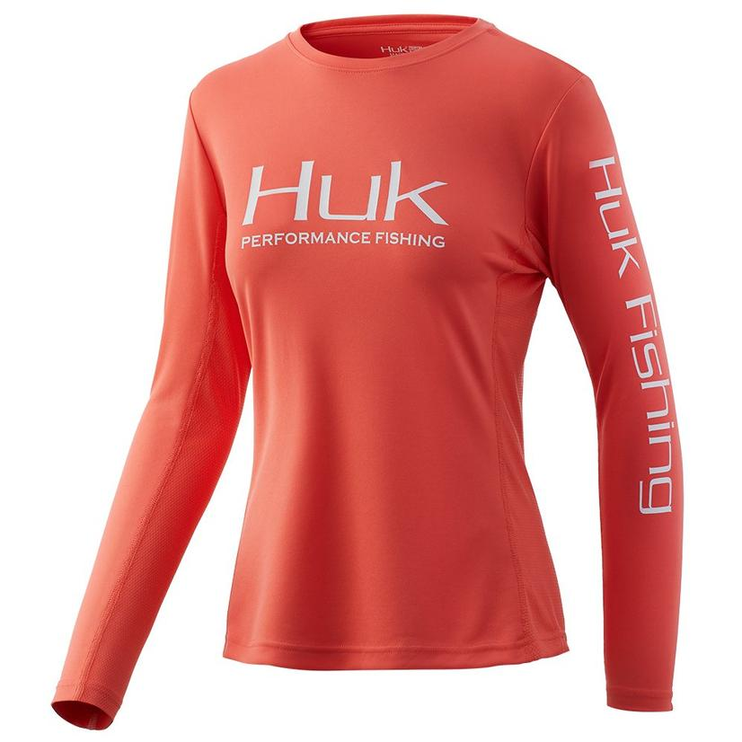 Huk Icon Solid Coral Fusion Long Sleeve Women's Shirt