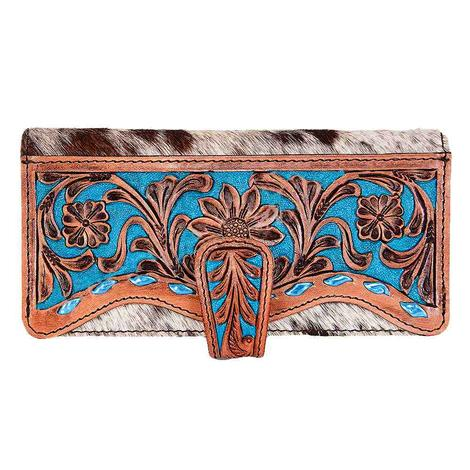 American Darling Bags Brown and Turquoise Tooled Wallet