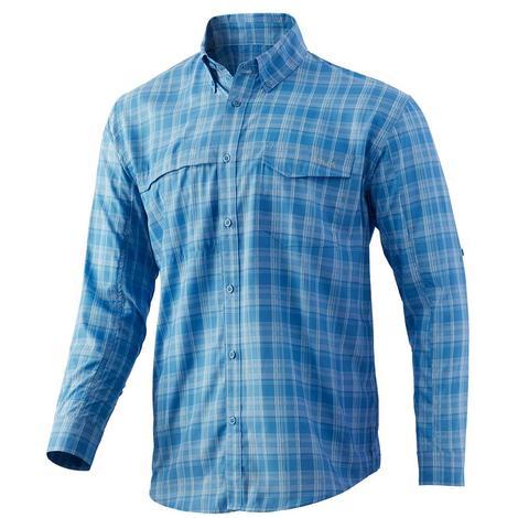 HUK Tide Point Dusk Blue Plaid Long Sleeve Buttondown Men's Shirt