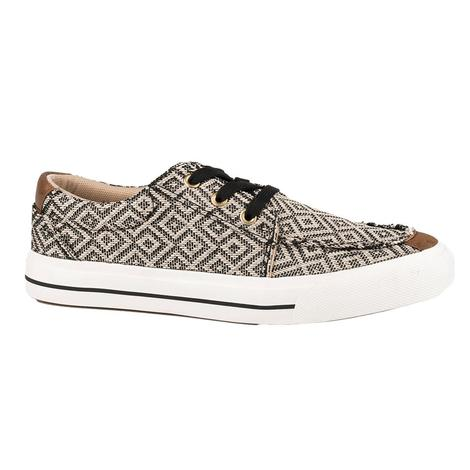 Roper Angel Fire Tan Grey Canvas Women's Lace Up Shoes