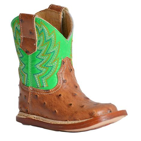 Roper Cowbaby Buddy Ostrich Green Infant Boots