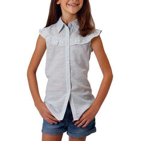 Roper Light Blue Striped Sleeveless Girl's Buttondown Shirt