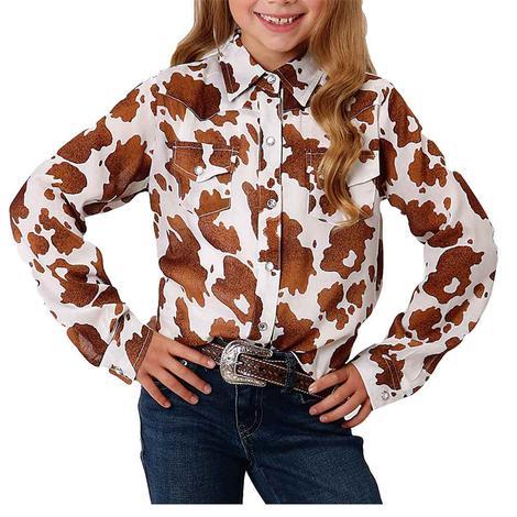 Roper Cowhide Print Long Sleeve Snap Girl's Shirt