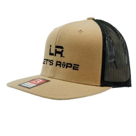 Let's Rope Flat Bill Black Logo Khaki and Black Meshback Cap