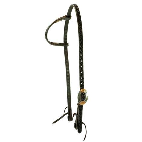 STT Four Leaf Tool Dark Oil Slide Ear with Copper Overlay Oval Buckle Headstall