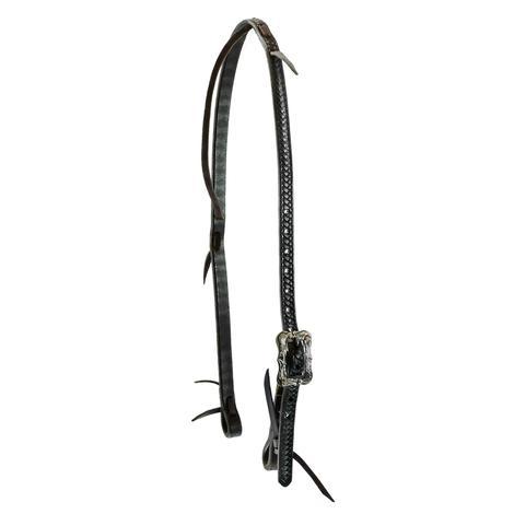 STT Braided Tool Dark Oil Latigo Slip Ear with Floral Cart Buckle Headstall