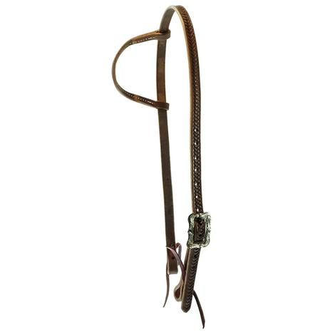 STT Braided Tool Chocolate Slide Ear with Floral Cart Buckle Headstall