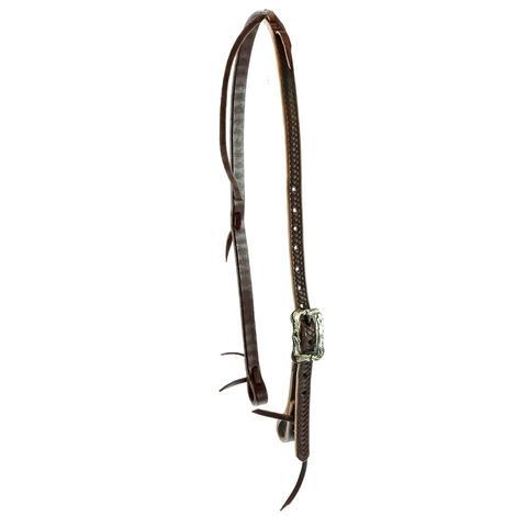 STT Braided Tool Chocolate Latigo Slip Ear with Floral Cart Buckle Headstall