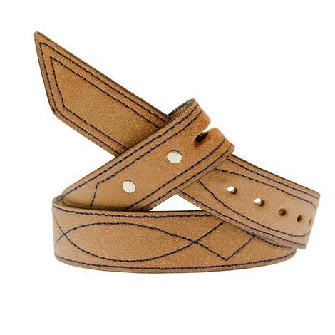STT Custom Rough Out Blue Saddle Stitch Men's Belt
