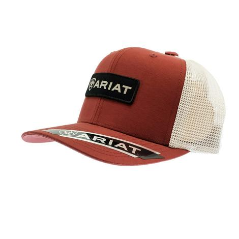 Ariat Rust Red Black Patch White Meshback Cap