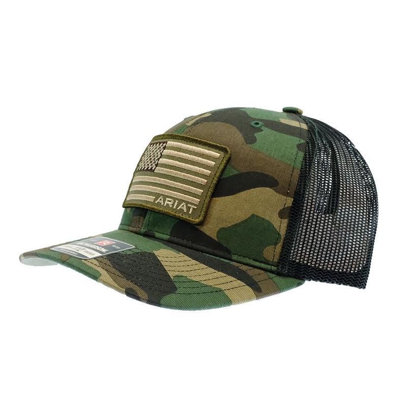 Ariat Green Camo American Flag Black Meshback Cap
