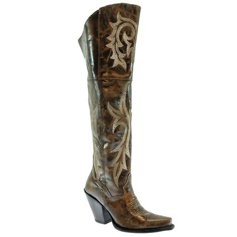 Dan Post Jilted Brown Embroidered Women's Tall Boots