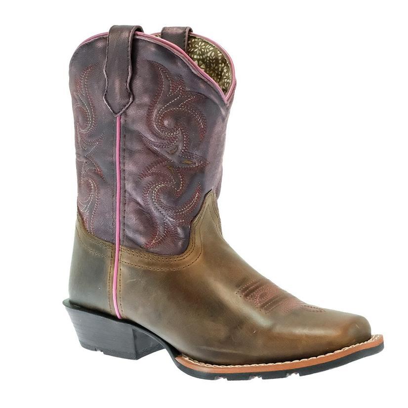 Dan Post Majesty Tan Purple Girl's Kid Boots