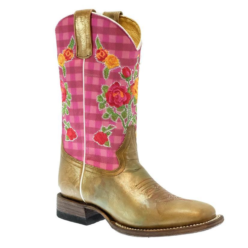 Macie Bean Pink Gingham Goldilocks Kid Boots