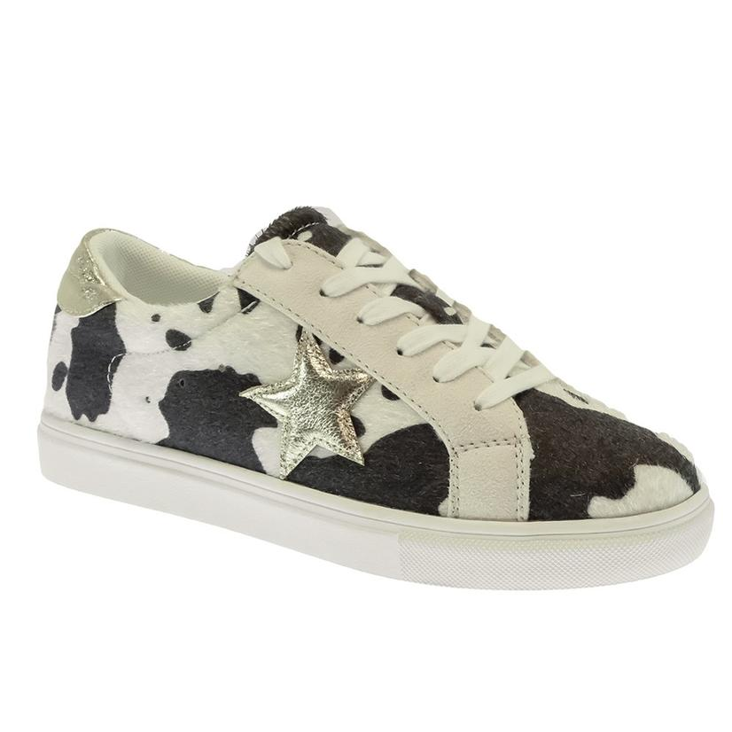 Star Brown Cowprint Women's Sneakers