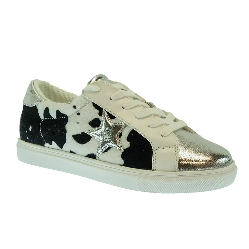 Star Black Cowprint Women's Sneakers