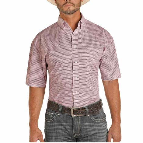 Panhandle Purple Print Short Sleeve Buttondown Men's Shirt