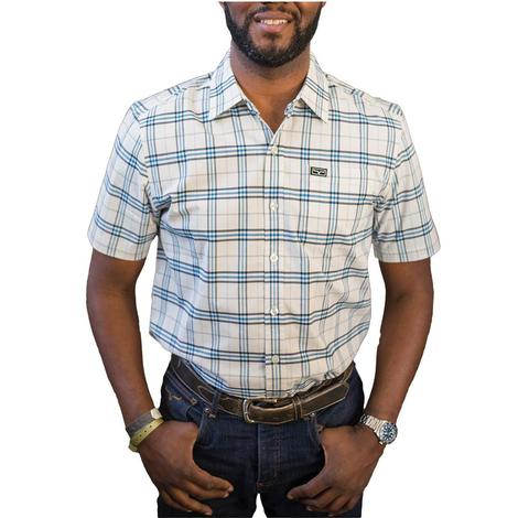 Kimes Ranch Pinehurst White Blue Woven Plaid Short Sleeve Men's Shirt