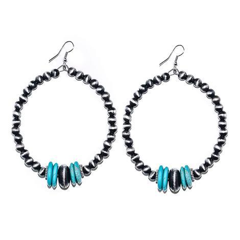 Turquoise and Faux Navajo Pearl Hoop Earrings