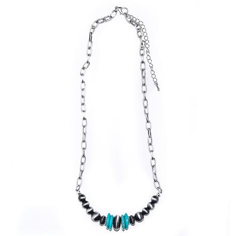 Turquoise and Faux Navajo Pearl Chain Link Necklace