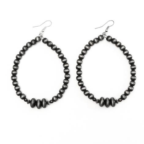 Silver Faux Navajo Pearl Hoop Earrings
