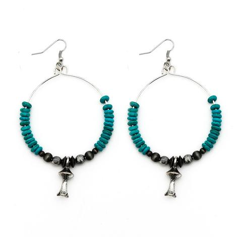 Turquoise and Silver Squash Blossom Hoop Earrings