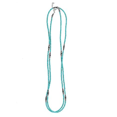 Turquoise and Faux Navajo Pearl Long Necklace