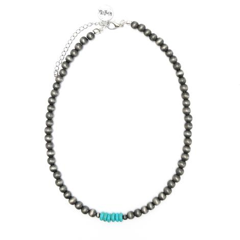 Silver Faux Navajo Pearl with Short Stack Turquoise Bead Necklace