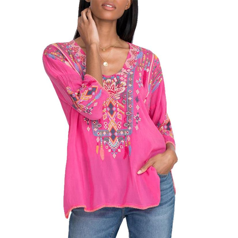 Johnny Was Rangoon Paradise Pink Embroidered Women's Blouse