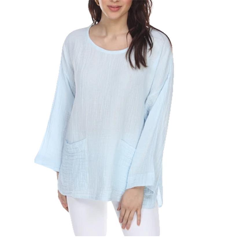 Honest Cotton Beach Pocket Women's Tunic Assorted Colors BLUE